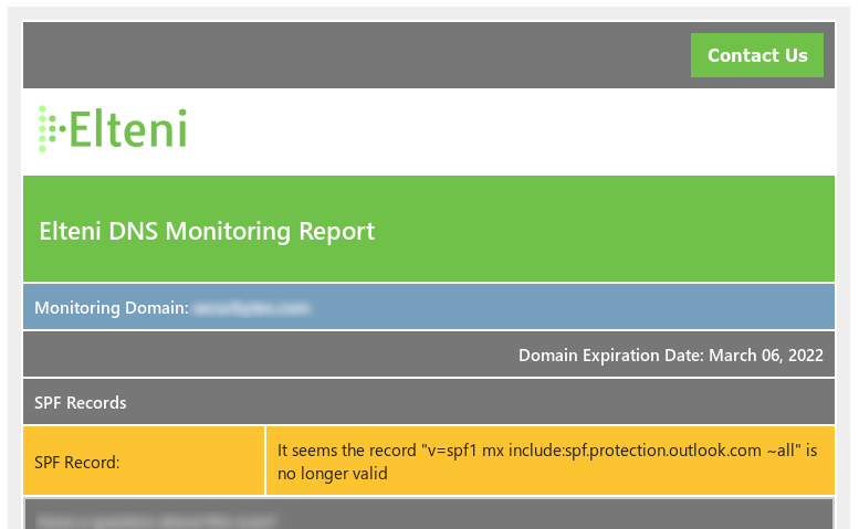 DNS Monitoring Report