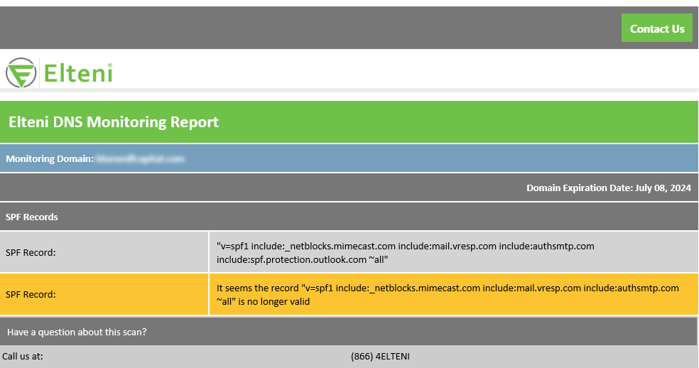 Elteni Domain Record Monitoring